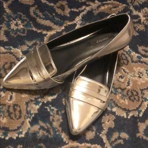 Silver Pointed Toe Metallic Loafers